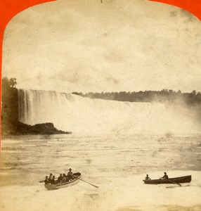 USA Canada Niagara Falls from Canada Old Stereoview Photo Curtis 1880