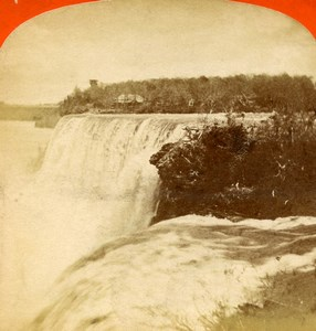 USA Canada Niagara Falls from Goat Island Old Stereoview Photo Curtis 1880