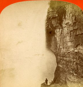 USA Canada Niagara Falls Cave of the Winds Old Stereoview Photo Curtis 1880