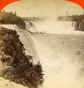 USA Canada Niagara Falls Prospect Point Old Stereoview Photo Curtis 1880