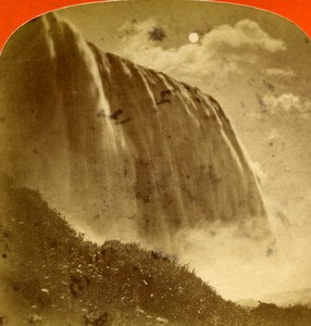 USA Canada Niagara Falls Moonlight Old Stereoview Photo Curtis 1880