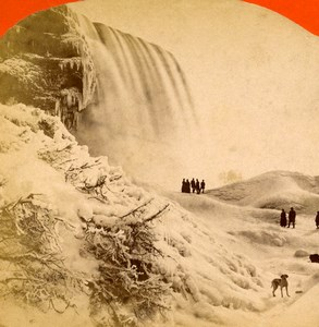 USA Canada Niagara Falls Winter Old Stereoview Photo Baker 1880