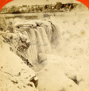 USA Canada Niagara Falls Horseshoe Fall Old Stereoview Photo Curtis 1880