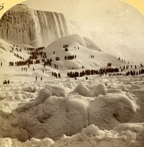 USA Canada Niagara Falls Great Ice Bridge Old Stereoview Photo Baker 1890