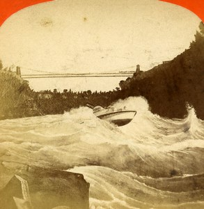 USA Canada Niagara Falls Whirlpool Rapids Old Stereoview Photo Curtis 1880