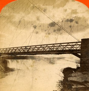 USA Canada Niagara Falls Suspension Bridge Old Stereoview Photo Curtis 1880