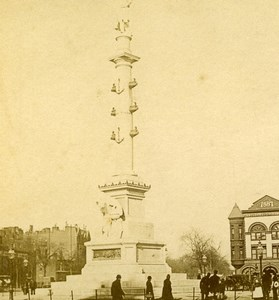 USA New York Columbus Monument Old Stereoview Photo Campbell 1896