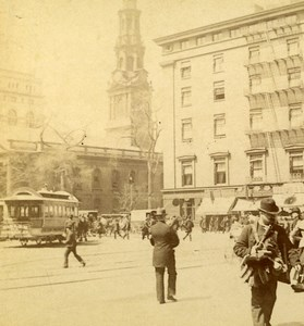 USA New York Lower Broadway Old Stereoview Photo Campbell 1896