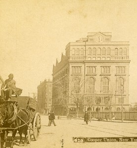 USA New York Cooper Union Old Stereoview Photo Campbell 1896