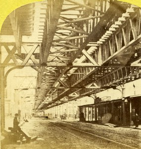 USA New York Elevated Railway Old Stereoview Photo 1870