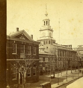 USA Philadelphia Independence Hall Old Stereoview Photo Cremer 1875