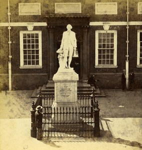 USA Philadelphia Independence Hall Washington Statue Stereoview Photo Cremer 19C