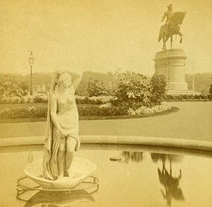 USA Boston Public Garden Fountain Old Stereoview Photo Baker 1875