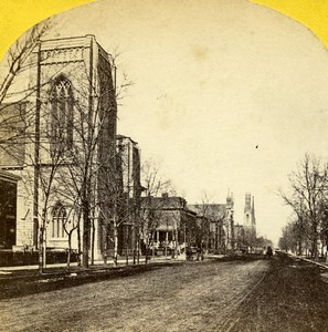 USA Chicago Wabash Avenue Church Old Stereoview Photo 1875