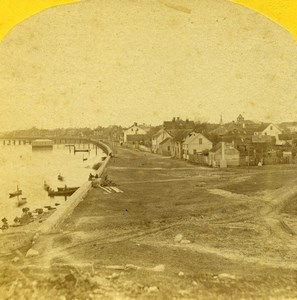 USA Florida St Augustine Sea Wall Old Stereoview Photo 1875