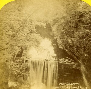 USA Watkins Glen Obscura from Suspension Bridge Stereoview Photo Purviance 1875