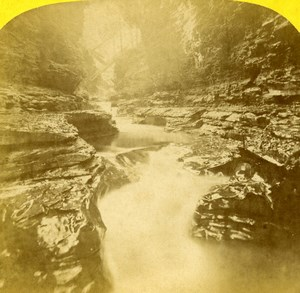 USA Watkins Glen Falls Artists Dream Stereoview Photo Purviance 1875