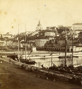 Europe or New England? City Panorama Sailboats Old Stereoview Photo 1875