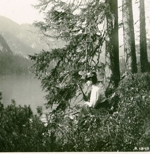 Italy Dolomites Alps Mountain Pragser Wildsee Anonymous Stereoview Photo 1900