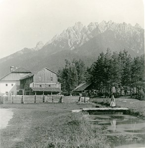 Italy South Tyrol Mountain Toblach Rienz & Neunerkofel Stereoview Photo NPG 1900