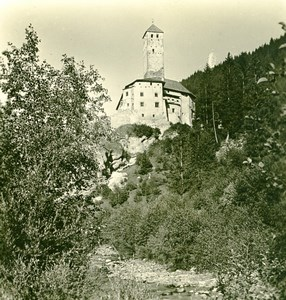 Italy South Tyrol Mountain Pustertal Castle Old Stereoview Photo Photochrom 1900