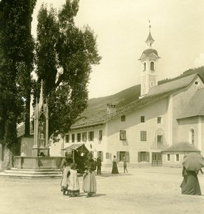 Italy South Tyrol Mountain Niederdorf Old Stereoview Photo Photochrom 1900