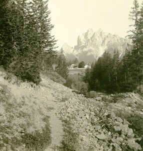 Italy South Tyrol Mountain Durrenstein Pragserthal Stereo Photo Photochrom 1900