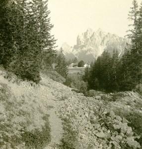Italy South Tyrol Mountain Durrenstein Pragserthal Stereo Photo Photobrom 1900