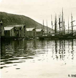 Norway Hammerfest the Harbor Old Stereoview Photo 1900