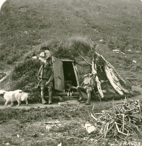 Norway Laplanders camping place Sami people Old Stereoview Photo 1900
