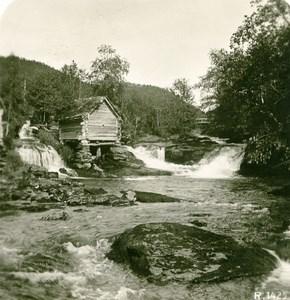 Norway Waterfall near Stalheim Old Stereoview Photo 1900