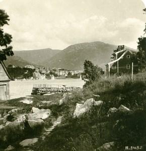 Norway Bergen Street Old Stereoview Photo 1900