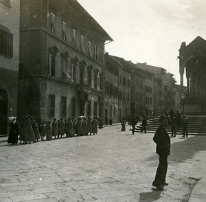 Italy Firenze Place Santa Croce Old Amateur Stereoview Photo Possemiers 1900