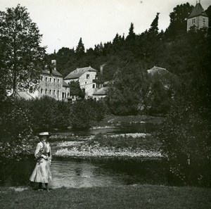 Belgium Lesse River Walzin Castle Old Amateur Stereoview Photo Possemiers 1900