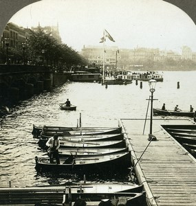 Germany Hamburg Harbour along the Binner Alster Old Stereoview Photo Kelley 1900