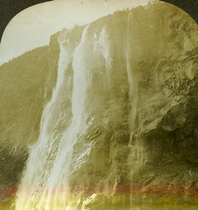Norway Fjord Geiranger Waterfall Seven Sisters Stereoview Photo William Rau 1903