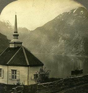 Norway Fjord Geiranger Merok Little Church Old Stereoview Photo William Rau 1903