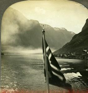 Norway Nærøyfjord Sognefjord Old Stereoview Photo Kelley 1910