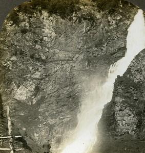 Norway Stalheim Cascade Waterfall Old Stereoview Photo William Rau 1903