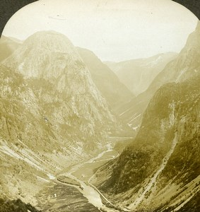 Norway Great Nærødal Pass Mountain Old Stereoview Photo William Rau 1903