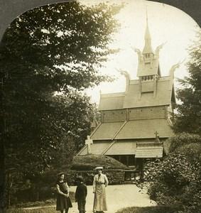 Norway Bergen Stave Church Fantoft Stavkirke Old Stereoview Photo Kelley 1910