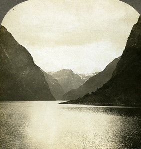 Norway Fjords Panorama Light and Shade Old Stereoview Photo William Rau 1903