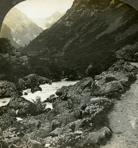 Norway Picturesque Hardanger Road Old Stereoview Photo William Rau 1903