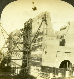 Panama Canal Construction Gatun Locks and Dam Old Stereoview Photo Kelley 1911