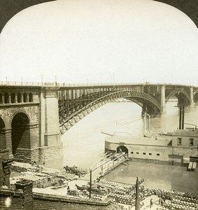 Saint Louis Eads Bridge Mississippi River Old Stereoview Photo William Rau 1904