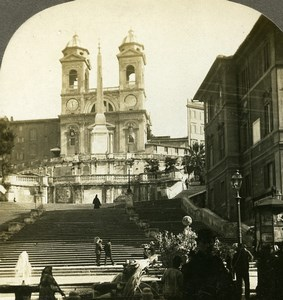 Italy Roma Trinità dei Monti Church Spanish Steps Stereoview Photo Kelley 1900