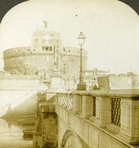 Italy Rome Castel Sant'Angelo Bridge Tiber Old Stereoview Photo Kelley 1900