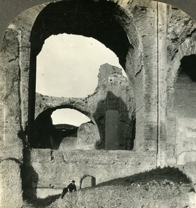 Italy Roma Rome Baths of Caracalla Terme Old Stereoview Photo Kelley 1900