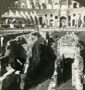 Italy Roma Colosseum underground Dens Old Stereoview Photo Kelley 1900