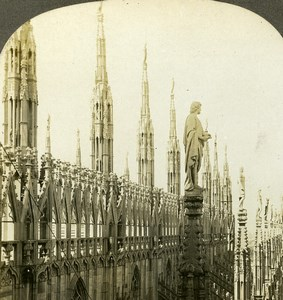 Italy Milano Spires Statues of the Cathedral Old Stereoview Photo Kelley 1900